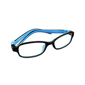 Deding Kids Optical Eyeglasses No Screw Bendable with Stringa and Case ,Children Tr90&silicone Safe Flexible Glasses Frame (Black Blue)