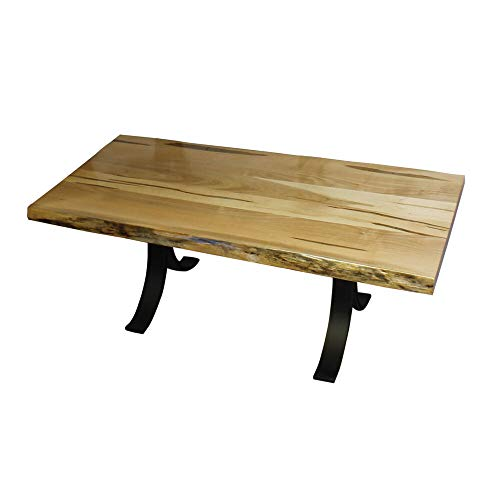 Live Edge Top – Wormy Maple Coffee Table with Eclipse Base