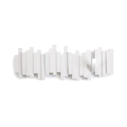 Umbra 318211-660 Multi Sticks Hakenleiste, Garderobenhakenleiste mit 5 Haken, Wandhaken, weiß