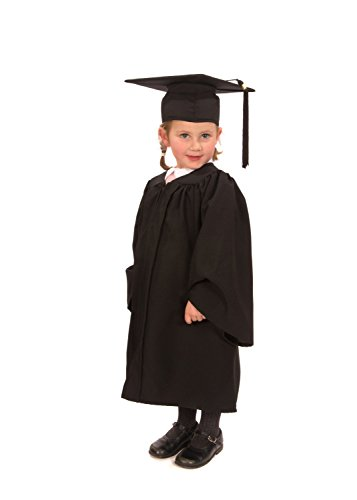 Graduation Gown Costume (Childrens' Graduation Gown with Matching Hat & Tassel - (Ages 3-5) Matte Finish … (Black))