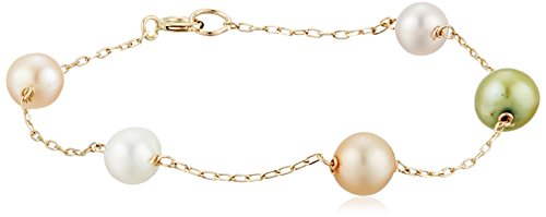 Girls' Freshwater Cultured Multicolored Pastel Pearl Tin Cup 14k Yellow Gold Strand Bracelet, 6