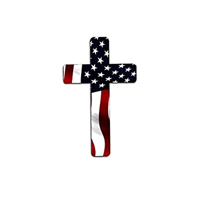 Rogue River Tactical Pack of 4 Red White Blue Cross Decal Sticker American Flag USA Large Inch Patriotic Decal Auto Bumper Sticker Vinyl Car Truck RV SUV Boat Window: Automotive