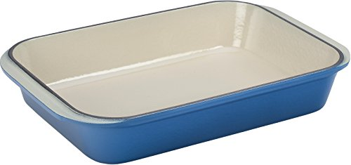 Le Creuset Enameled Cast-Iron 15-3/4-by-10-3/4-Inch Rectangular Roaster, Marseille (Rectangular Roaster Blue)