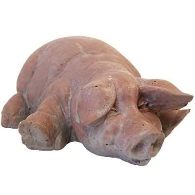 BestNest Athens Chubby Laying Pig Statue, Brick : Garden & Outdoor