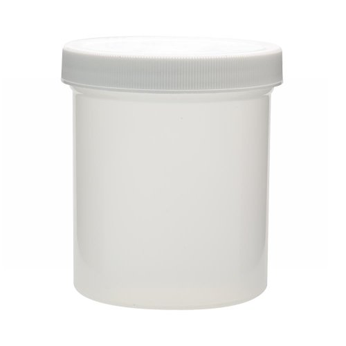 Wheaton W209910 White Polypropylene Wide Mouth Container with 89-400 Polypropylene Polyethylene Lined Screw Cap, 500mL Capacity (Case of 24) (Polypropylene Jars)