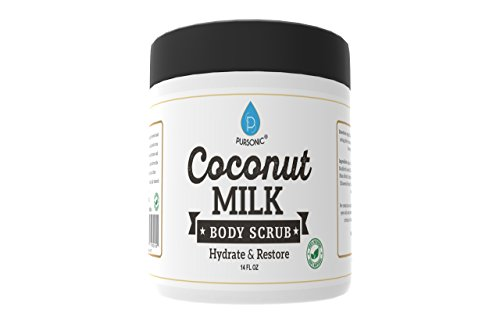 Pursonic Coconut Milk Body Scrub 14oz, with Dead Sea Salt, Almond Oil and Vitamin E for All Skin Type, Natural Skin Care Formula Helps with Stretch Marks, Eczema, Acne and Varicose Veins ()