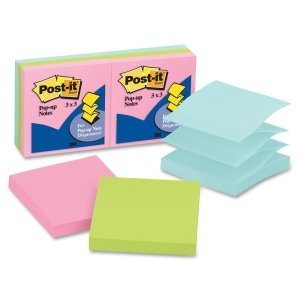 Post-it® Pop-up Notes R330AP - POP-UP REFILLS, 3 X 3, THREE PASTEL COLORS, 6 100-SHEET PADS/PACK