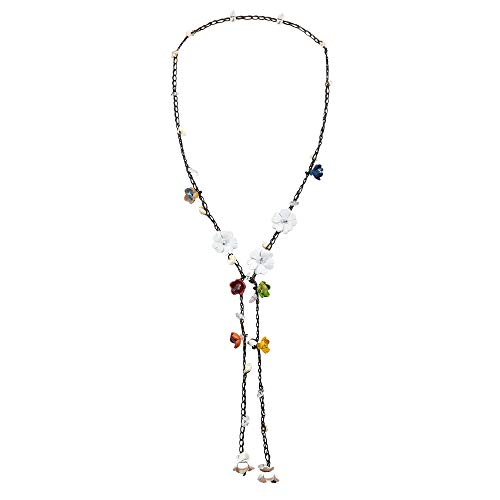 (AeraVida Chic White Daisy Floral Mix Stone Genuine Leather Lariat Wrap Necklace)