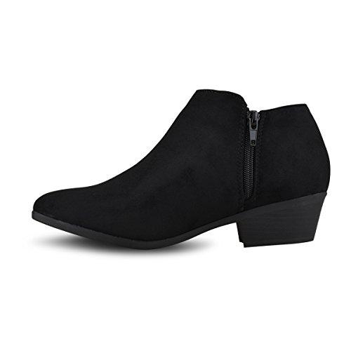 Western Toe Round Premier Standard Suede B Faux Bootie Stacked Black Women's Ankle Heel C8tC4nEqx