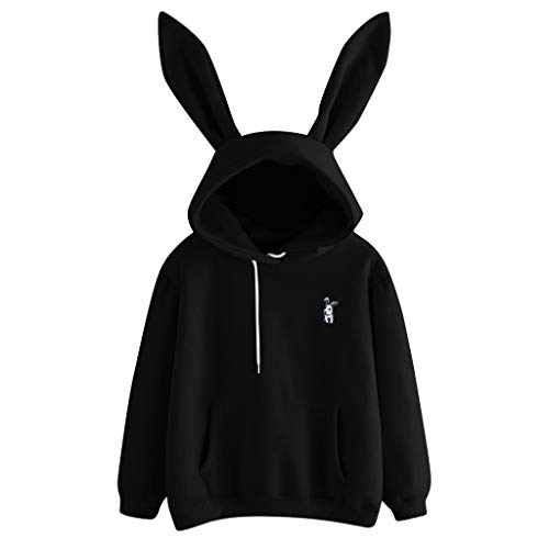 Sunhusing Ladies Cute Rabbit Ear Long Sleeve Hoodie Solid Color Embroidery Pullover ()