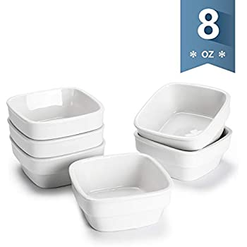 Sweese 513.001 Porcelain Dipping Bowls 8oz Sauce Dishes, Square Ramekins, Souffle Dishes Set of 6, White
