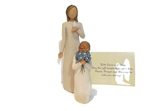 Willow Tree Forget Me Not Figurine Bundle With Willow Tree With Sympathy Statue. An Ideal Sympathy-Condolence Gifts For Loss Of Mother/Father/Loved One