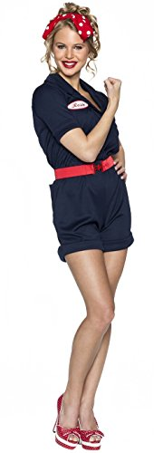 Delicious Riveting Rosie Costume, Navy Blue, (1950s Pin Up Costume)