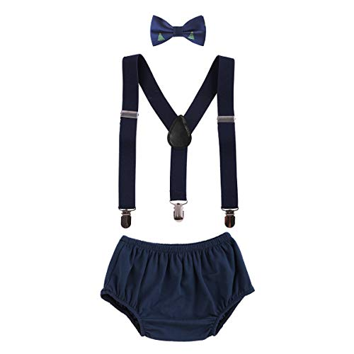Baby Boys Cake Smash Outfits First Christmas Birthday Fancy Costumes Neck Tie Bowtie Adjustable Elastic Clip Y Back Suspenders Bloomers Pants Headband Clothes set Navy Blue Xmas Trees -