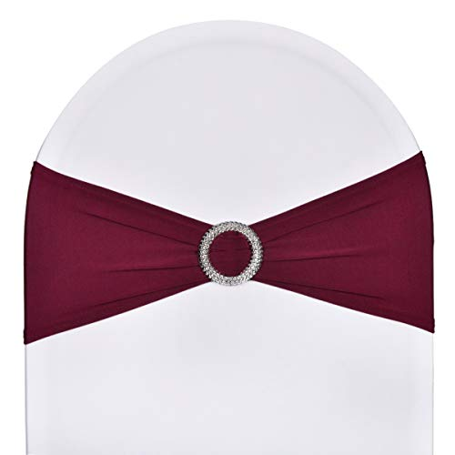 Burgundy Chair Cover - Pack of 50 Stretch Spandex Chair Sashes for Wedding Party Banquet Decoration Elastic Bulk Chair Cover with Buckle Engagement Event Birthday Graduation Meeting Burgundy
