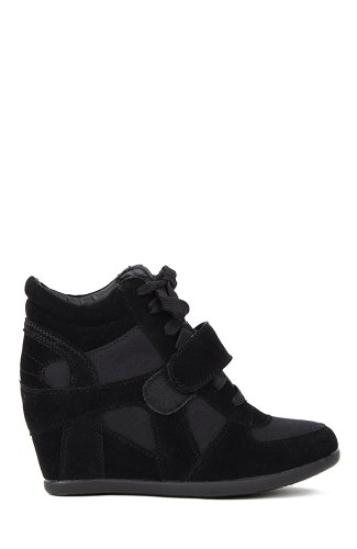 Top Moda Sammy-6 Suede Bi-Material Lace Up Velcro Sneaker Wedge, US 8.5