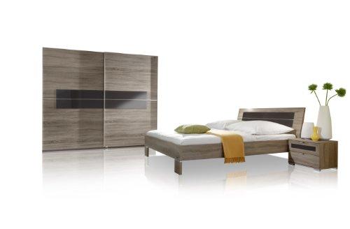 fresh to go 690116 Schlafzimmer komplett Set bestehend aus Schwebetürenschrank 250 cm breit, Bett 180 x 200 cm, Nachtschrankpaar, montana-eiche-Nachbildung/ Absetzungen Glas mokka