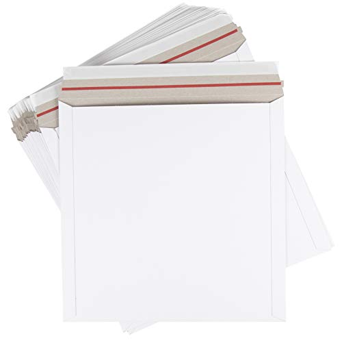 White Photo Wall Calendar - Rigid Mailers - 25-Pack Stay Flat Photo Document Mailers, Self-Seal Paperboard Envelope Mailers for Photos, Pictures, Wall Calendars, No Bend, White, 12 1/2 x 12 1/2 Inches