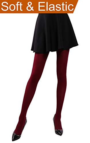 Pantyhose Opaque Spandex (HeyUU Women's Semi Opaque Solid Color Soft Footed Pantyhose Tights 2 Pack Burgundy)