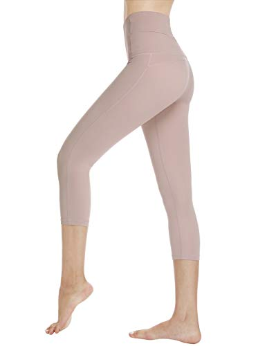 Dragon Fit Compression Yoga Pants Power Stretch Workout Leggings with High Waist Tummy Control (Small, Capri-Begonia Pink)