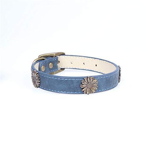 bluee 2.5×35-45cm Lindou Pet collar Pet collar fashion chrysanthemum decoration in large dog collar,black,2.5×35-45cm (color   bluee 2.5×35-45cm)