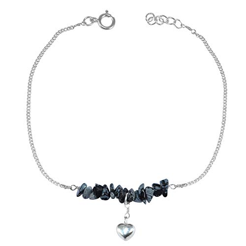 Silvestoo Jaipur Black Snowflake Obsidian Gemstone 925 Sterling Silver Single Piece Anklet PG-155875