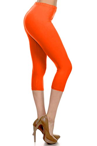 - NCPRX128-Orange Capri Solid Leggings, Plus Size