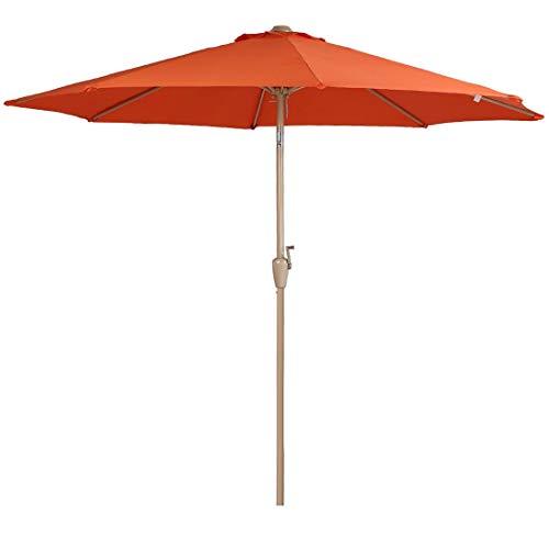 (Balichun Patio Umbrella 9 Ft Outdoor Table Aluminum Offset Market Umbrellas with Push Button Tilt and Crank (9FT,)