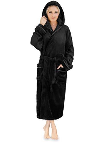 - Premium Women Fleece Robe with Hood and Satin Trim | Luxurious Soft Plush Bathrobe