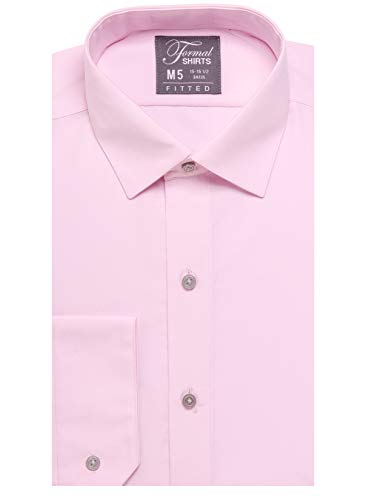 (Luxe Microfiber Men's Fitted Spread Collar Dress Shirt - Style Jesse Pink)