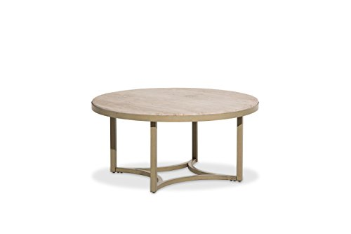 - Michael Amini FS-ALTA204 Alta Round Cocktail Table with Travertine Marble Top