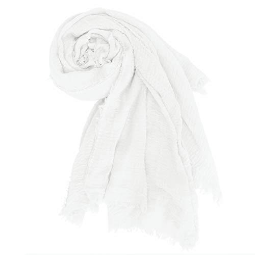 MissShorthair Women's Soft Cotton Hemp Scarf Summer Shawl Solid Linen Gauze Wrap ()