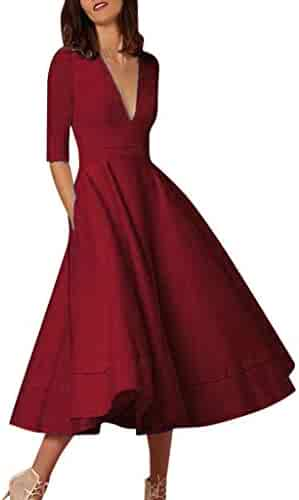 7d44d6851fd7 Toimothcn Women's Half Sleeve Deep V Neck Prom Gown Ladies Casual Long Maxi  Evening Party Swing