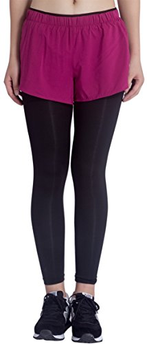 KomPrexx Pantalón Deportivo de Mujer Leggings Negro para Yoga Running Ejercicio violado-2