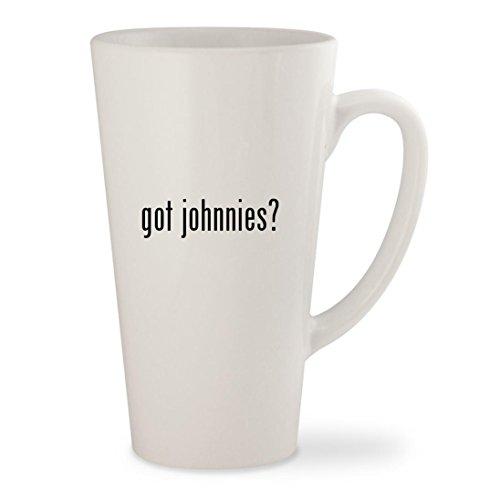 got johnnies? - White 17oz Ceramic Latte Mug Cup (Test Ds Game Johnny)