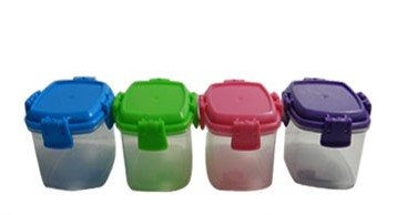 4 Pack Mini 2 oz Colored Containers with Locking Lids (Mini Liquid Container)