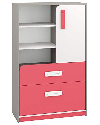 Kinderzimmer - Kommode Renton 07, Farbe: Platingrau/Weiß/Himbeerrot - Abmessungen: 140 x 92 x 40 cm (H x B x T), mit 1 Tür, 2 Schubladen und 6 Fächern