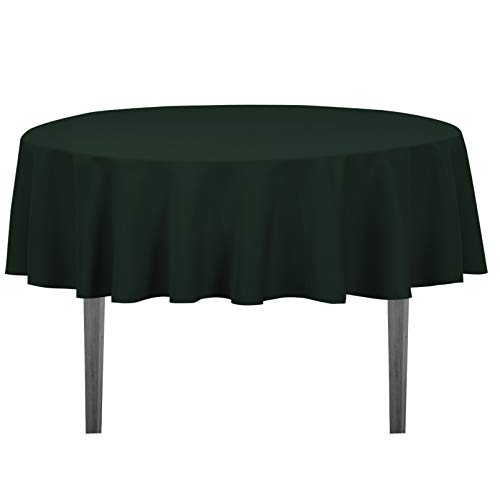 LinenTablecloth 70-Inch Round Polyester Tablecloth Hunter Green