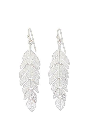 - Phillips International Metal Feather Link Dangle Earrings Silver-Tone