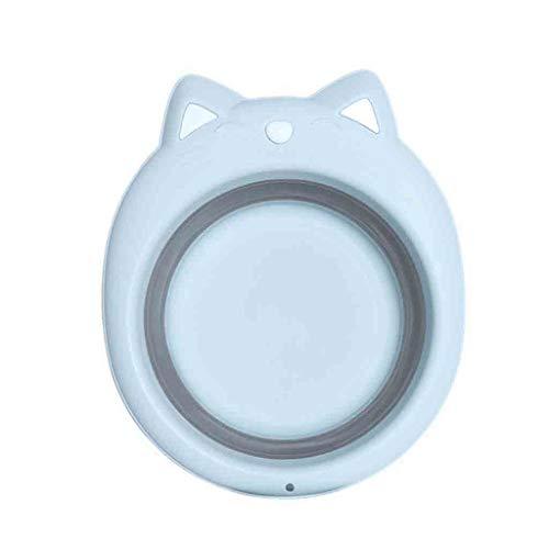 Fine Collapsible Dishpan,Washbasin Washing Basin Plastic Tub Laundry Basket Portable Space Saving Safety Multifunction Non-Toxic for Baby Wash (Blue)