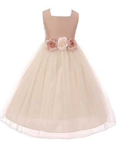 BluNight Collection Classic Silk Bodice Elegant Waist Big Girl Graduation Flower Girls Dresses (42KD8) Vintage Rose 8