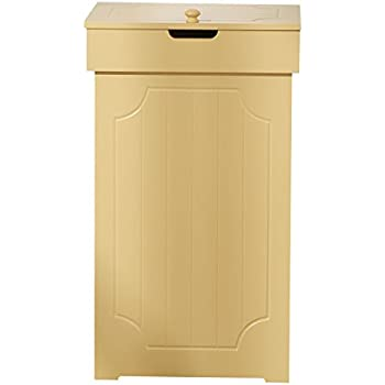 Mulsh Trash Can Gabage Bins Waste Container 13 Gallons Rececling Dustbin Litter Bin Cabinet Wooden Kitchen Wastebaskets Space Saver With Lid In Yellow