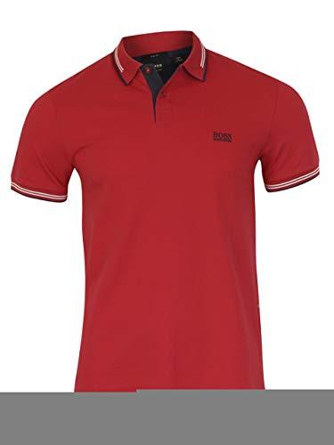 Boss Green Golf - BOSS Green Men's Paul Short Sleeve Pique Polo Shirt, Bright Red, XXL