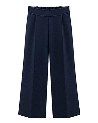 Mujeres Ancho Pierna Palazzo Pantalones Cintura Elástica Holgados Flojos Casual Capri Tallas Grandes Azul marino /Longitud del tobillo