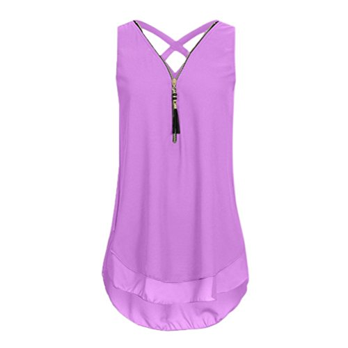 CUCUHAM Women Loose Sleeveless Tank Top Cross Back Hem Layed Zipper V-Neck T Shirts Tops(A-Purple, L)