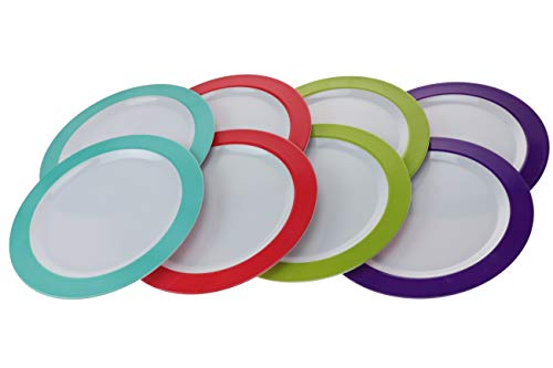 Melamine 10.5 Plate (Handi-ware 8 Pack Classic Wide Rim Fun Color Melamine Break-Resistant Indoor Outdoor Dinnerware Wide Band Pattern By Unity (10.5