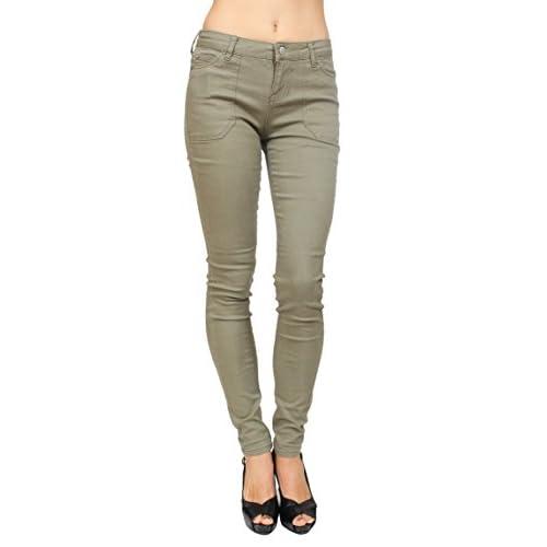 Celebrity Pink Jeans Women Khaki Skinny Jeans With Pork Chop Front Pockets