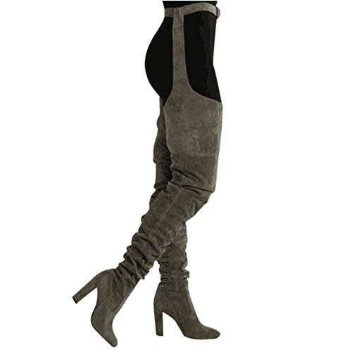 XDLEX Slouch Rihanna Suede Flock Thigh High Boots Over Knee Boots Block Heel Solid Pointed Toe Combat T-Tied Sexy Garter Chaps Suspender Wrap-Around Army Green]()
