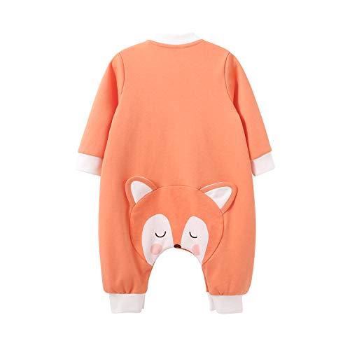 pureborn Baby Girl Boy Long Sleeve Jumpsuit Cartoon Cotton Footless One-Piece Orange Fox 12-24 -