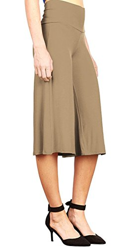 Style Love Women's Pants Womens Palazzo Pants SL Soft Capri Culottes Pant Wide Leg Pants Khaki L (Seersucker Wide Leg Pants)